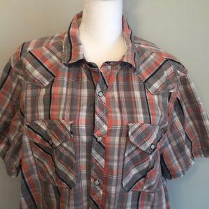 Roebuck & Co Western Pearl Snap SS Plaid Shirt Lg